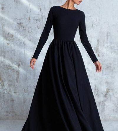 Mini robe évasée tutu plissé col bateau manches longues élégant noir et rouge