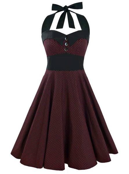 robe vintage rouge à pois blanc