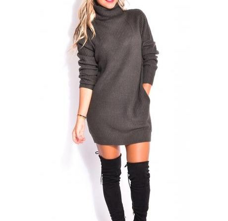 Robe pull col roulé oversize robe pull laine pas cher